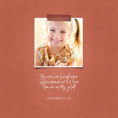 Uitnodiging communiefeest meisje met christelijke symbolen 2