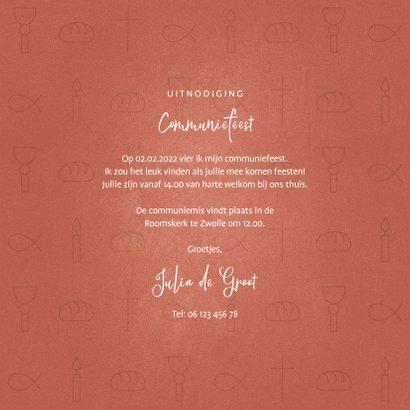 Uitnodiging communiefeest meisje met christelijke symbolen 3