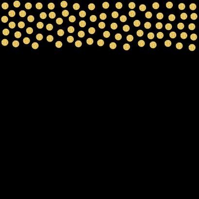 Uitnodiging confetti goud fotocollage 2