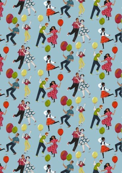 Uitnodiging dansende mensen en ballonnen 2