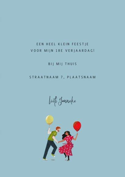 Uitnodiging dansende mensen en ballonnen 3