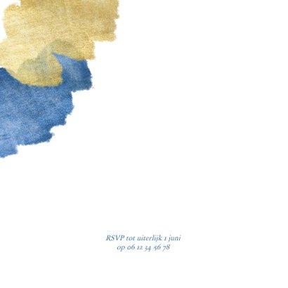 Uitnodiging doopfeest foto metallic blauw 2