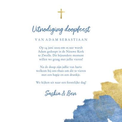 Uitnodiging doopfeest foto metallic blauw 3