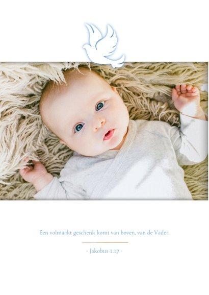 Uitnodiging doopsel foto en blauw duifje 2