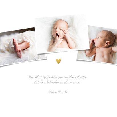 Uitnodiging doopsel fotocollage goudspetters 2