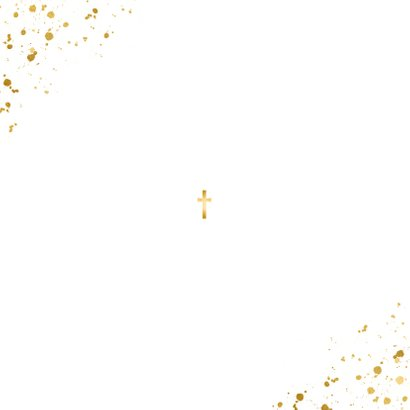 Uitnodiging doopsel fotocollage goudspetters Achterkant