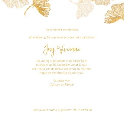 Uitnodiging doopsel ginkgo goud met foto 3