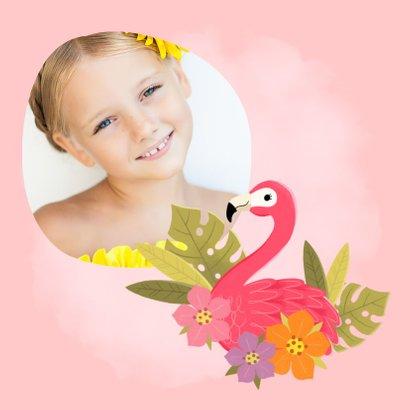 Uitnodiging eerste communie flamingo, blaadjes en bloemen 2