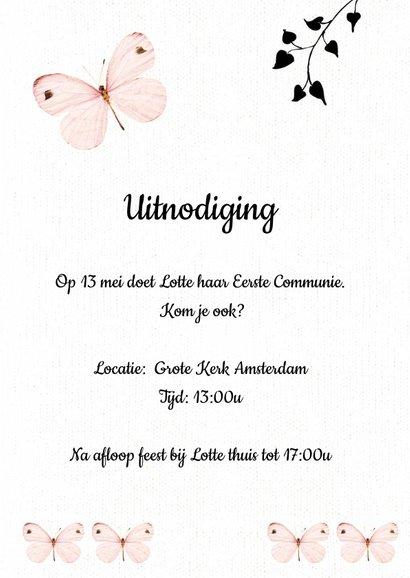 Uitnodiging Eerste Communie met lieve roze vlinders 3