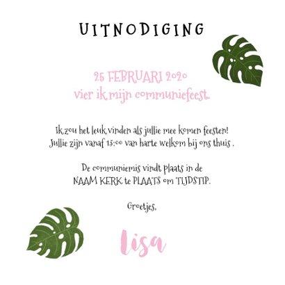Uitnodiging eerste communie met plantjes voor een meisje 3