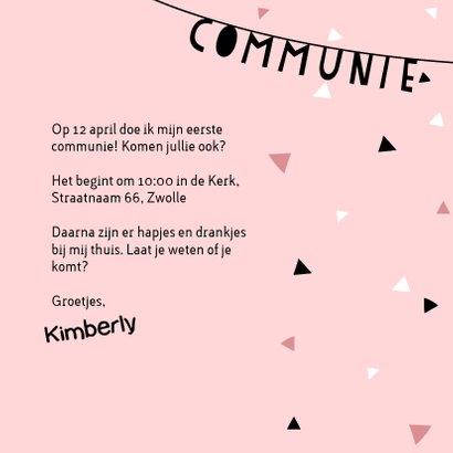 Uitnodiging eerste communie met slinger, confetti en foto's 3