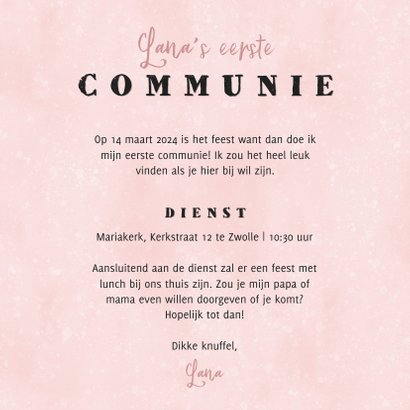 Uitnodiging eerste communie panterprint hart roze waterverf 3