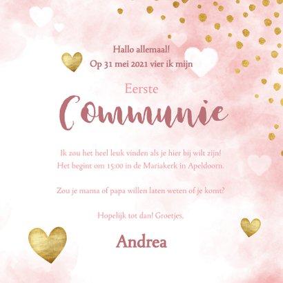 Uitnodiging eerste communie waterverf, hartjes en stipjes 3