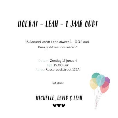 Uitnodiging eerste verjaardag kind - 12 maanden kaart 3