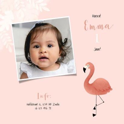 Uitnodiging eerste verjaardag meisje flamingo jungle & foto 2