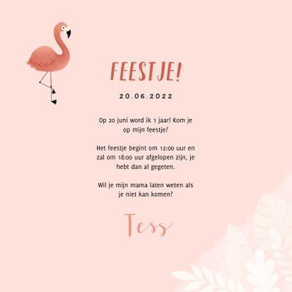 Uitnodiging eerste verjaardag meisje flamingo jungle & foto 3