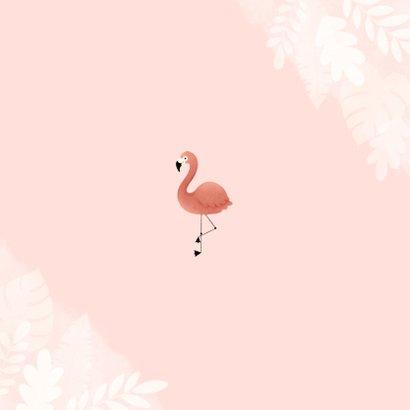 Uitnodiging eerste verjaardag meisje flamingo jungle & foto Achterkant