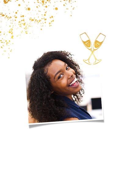 Uitnodiging examenfeest geslaagd goud stijlvol foto 2