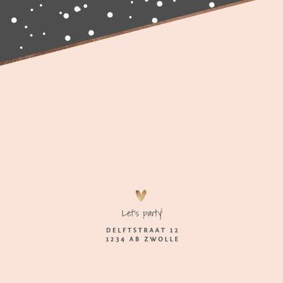 uitnodiging examenfeest stijlvol confetti hartjes foto goud 2
