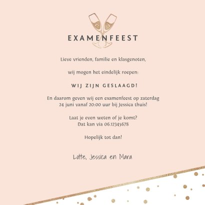 uitnodiging examenfeest stijlvol confetti hartjes foto goud 3