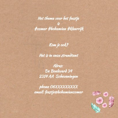Uitnodiging feest bohemian zomer 3