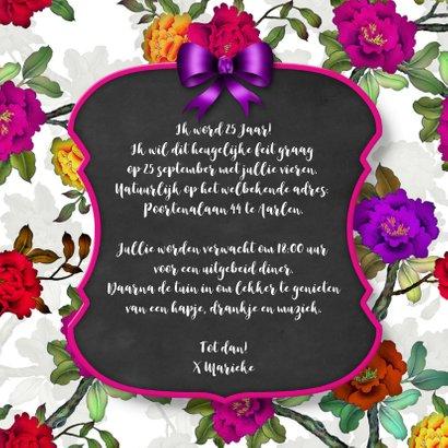 Uitnodiging feest bord en bloemen 3
