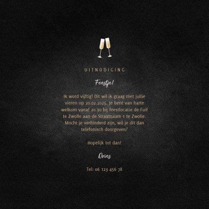 Uitnodiging feest champagne met foto en gouden linten 3