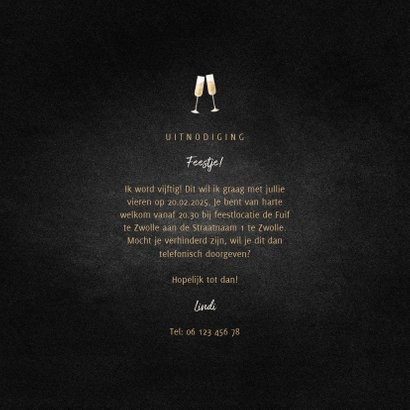 Uitnodiging feest champagne met gouden linten 3