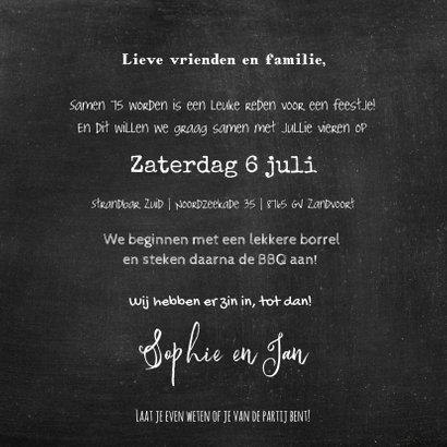 Uitnodiging feest Drijfhout pallet op krijtbord 3