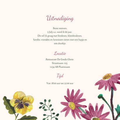 Uitnodiging Feestje 80 Bloemen Botanisch 3