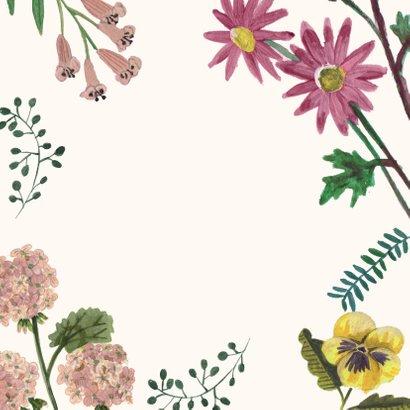 Uitnodiging Feestje 80 Bloemen Botanisch Achterkant