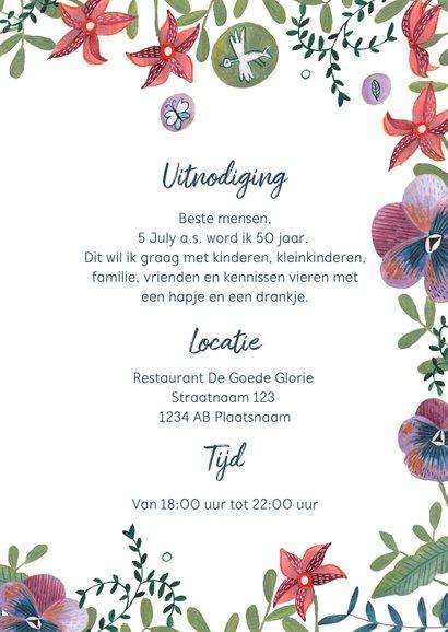 Uitnodiging feestje botanisch bloemen wijn 3