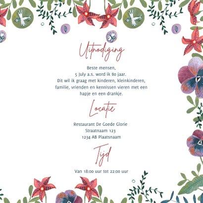 Uitnodiging feestje botanische bloemen met wijn 3
