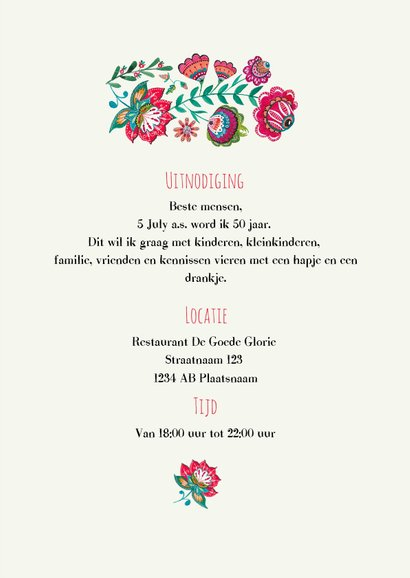 Uitnodiging feestje folk flowers bohemian 3
