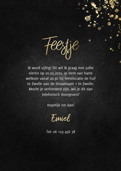 Uitnodiging feestje goud fotocollage met spetters 3