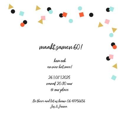 Uitnodiging feestje goud zwart confetti vrolijk 3