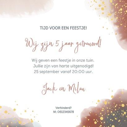 Uitnodiging feestje huwelijksjubileum waterverf en goud  3