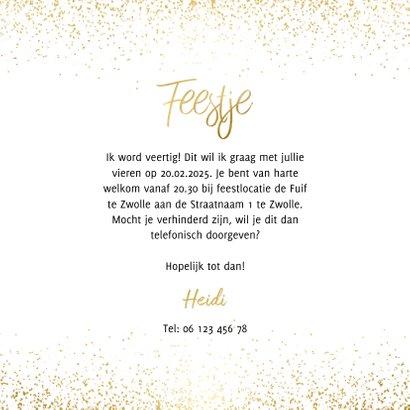 Uitnodiging feestje in goudlook en confetti 3