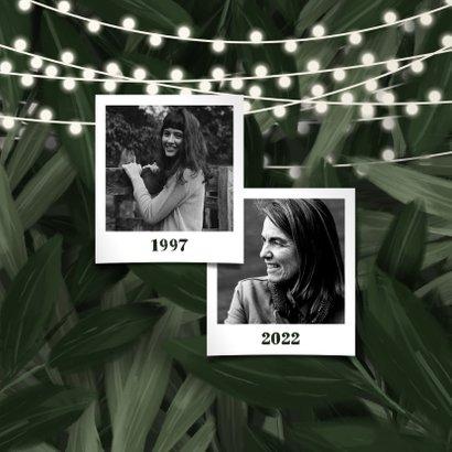 Uitnodiging feestje jungle bladeren met lampjes 2
