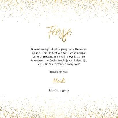 Uitnodiging feestje vierkant goud fotocollage met confetti 3