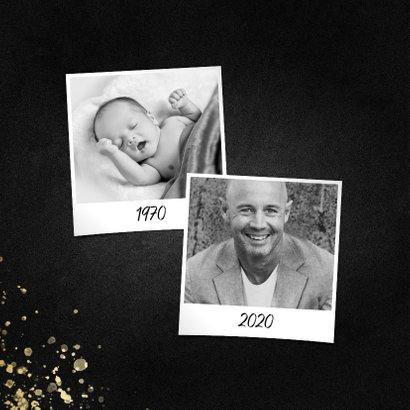 Uitnodiging feestje vierkant goud fotocollage met spetters 2