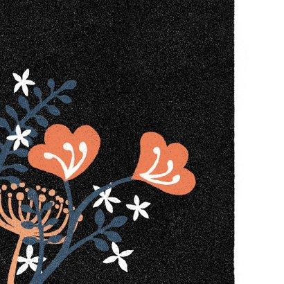 Uitnodiging feestje vrouw bloemen abstract zwart blauw 2