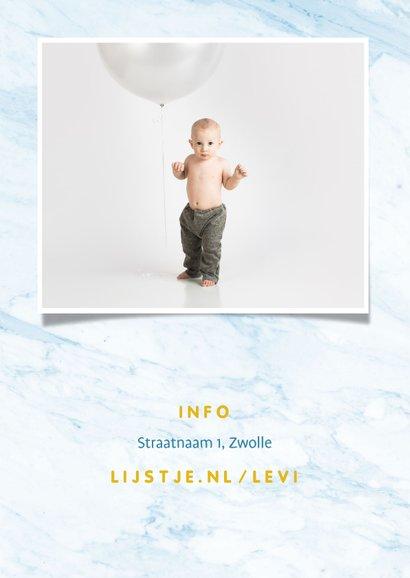 Uitnodiging folieballonnen 'hoera' blauw/goud uitnodiging 2