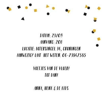 Uitnodiging fotocollage feest confetti zwart goud 3