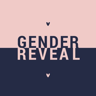 Uitnodiging gender reveal modern typografisch 2