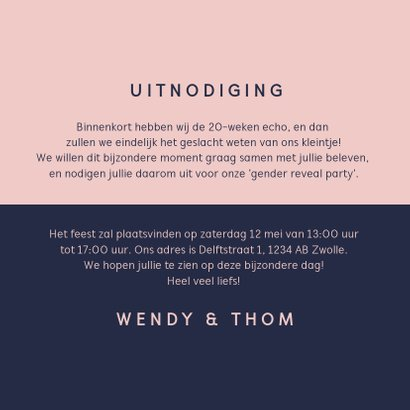 Uitnodiging gender reveal modern typografisch 3