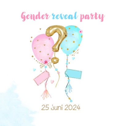 Uitnodiging gender reveal party balonnen 2