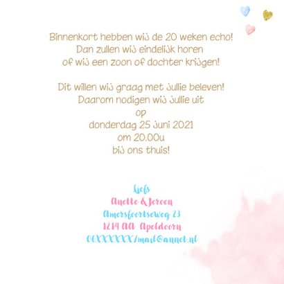 Uitnodiging gender reveal party balonnen 3