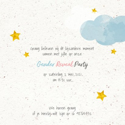 Uitnodiging gender reveal party in de wolken vk 3