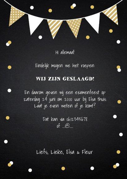 Uitnodiging geslaagd feest foto slinger confetti 3